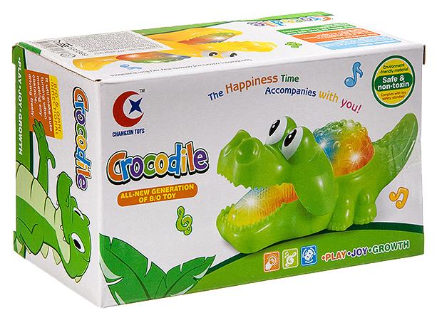 Купить Игр. пласт. на бат. музык., светящ и движущ. Крокодил, ВОХ 18х10х8 см, арт.060A., Shenzhen Toys, Интерактивные животные
