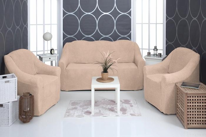 Комплект чехлов на диван и кресла Venera Soft sofa set, цвет: бежевый, 3 предмета