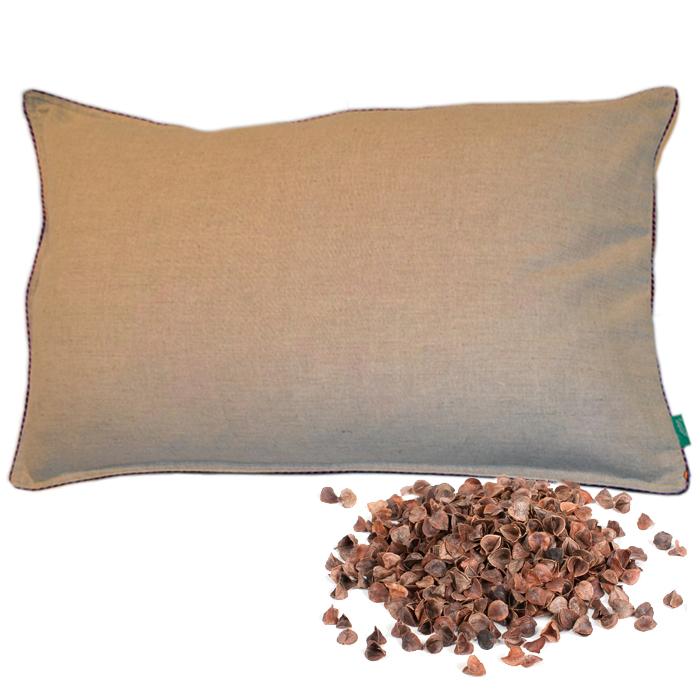 Подушка для сна из гречихи, 50 х 70 см (наволочка лён), Лика