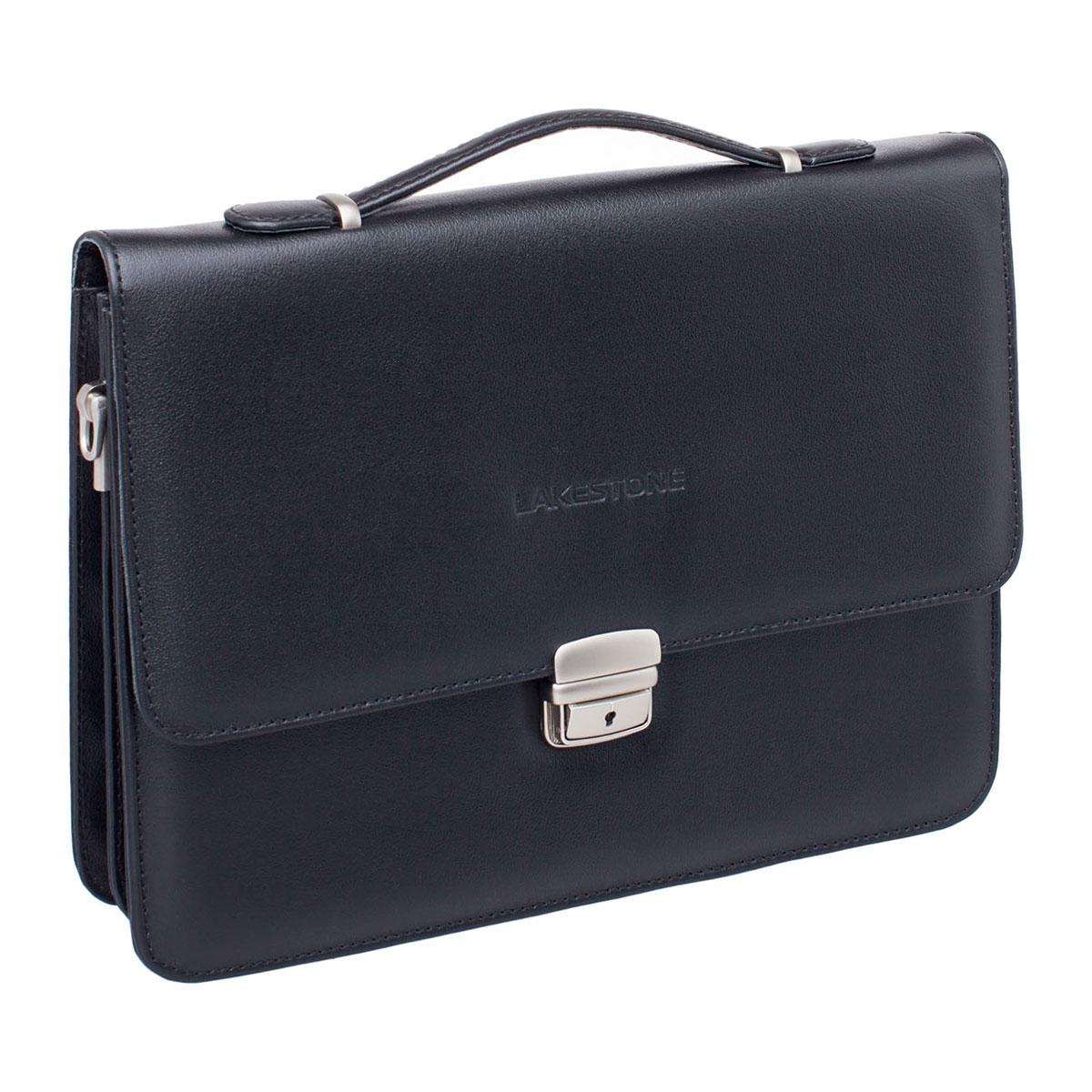 Портфель мужской кожаный Lakestone Gordon черный фото