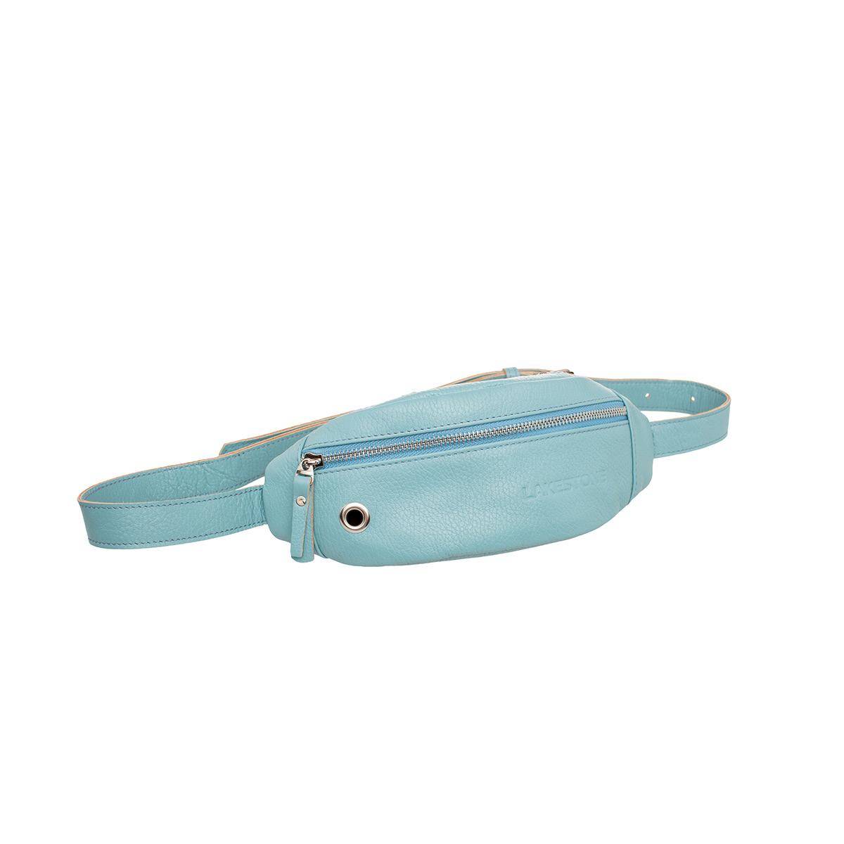Сумка на пояс женская кожаная Lakestone Bisley светло-голубая фото