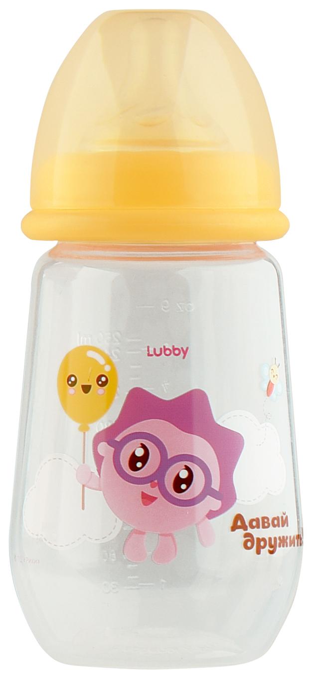 Бутылочка для кормления LUBBY Малышарики от 0 мес 250 мл желтый