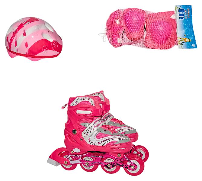 Раздвижные роликовые коньки Navigator с защитной экипировкой, розовые, р. 30-33