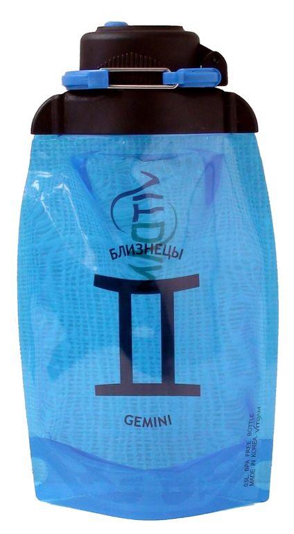 Складная эко-бутылка Vitdam, синяя, 500 мл, Gemini/Близнецы