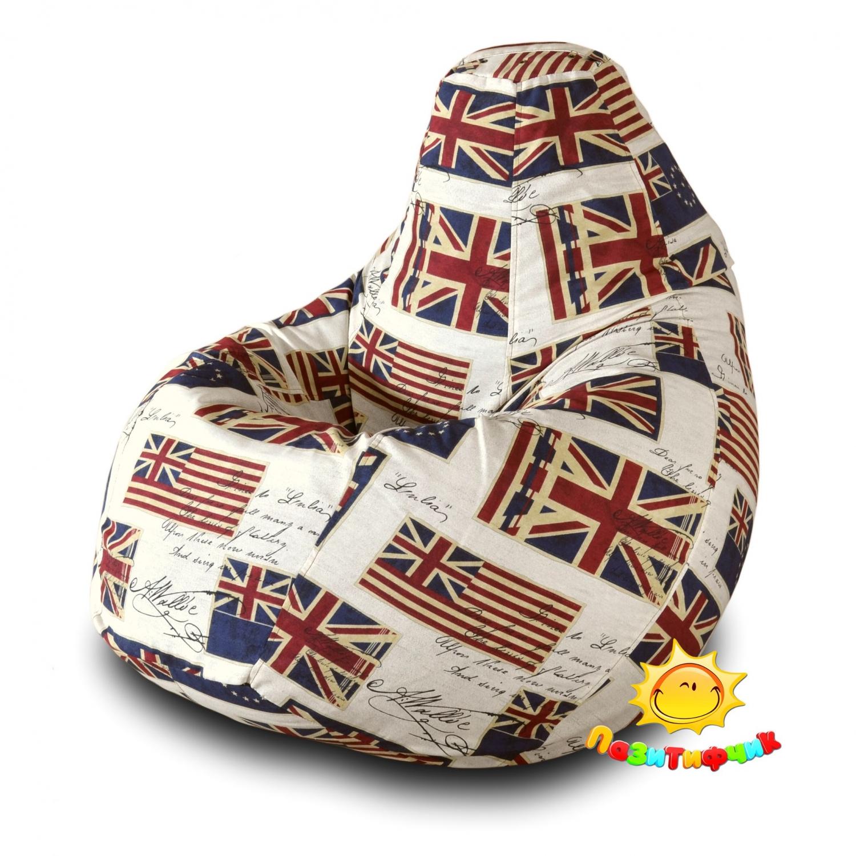 Кресло-мешок Pazitif Груша Пазитифчик Флаг 05, размер XXL, жаккард, разноцветный фото