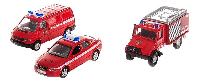 Игровой набор машин Welly Пожарная служба 3 штуки фото