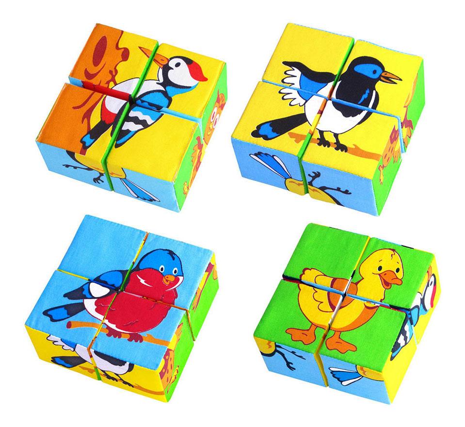 Купить Детские кубики Мякиши Собери картинку Птицы 239, Развивающие кубики
