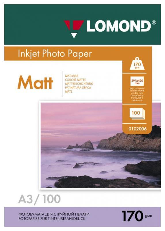 Фотобумага для принтера Lomond A3 170г/кв.м двухсторонняя матовая 100 л