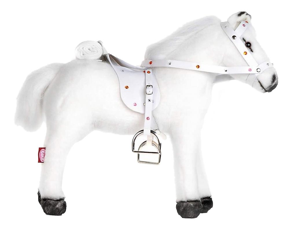 Фигурка лошадки Gotz 3401485 c седлом и уздечкой озвученная белая фото