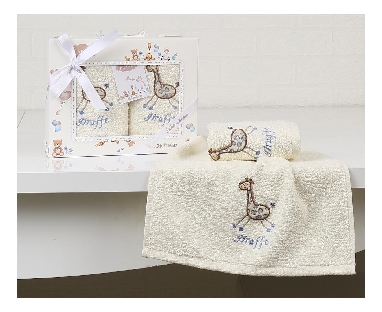 Купить Салфетки c вышивкой Karna детский BAMBINO 30х50 см 2 шт. Голубой 2135-V2, Аксессуары для купания