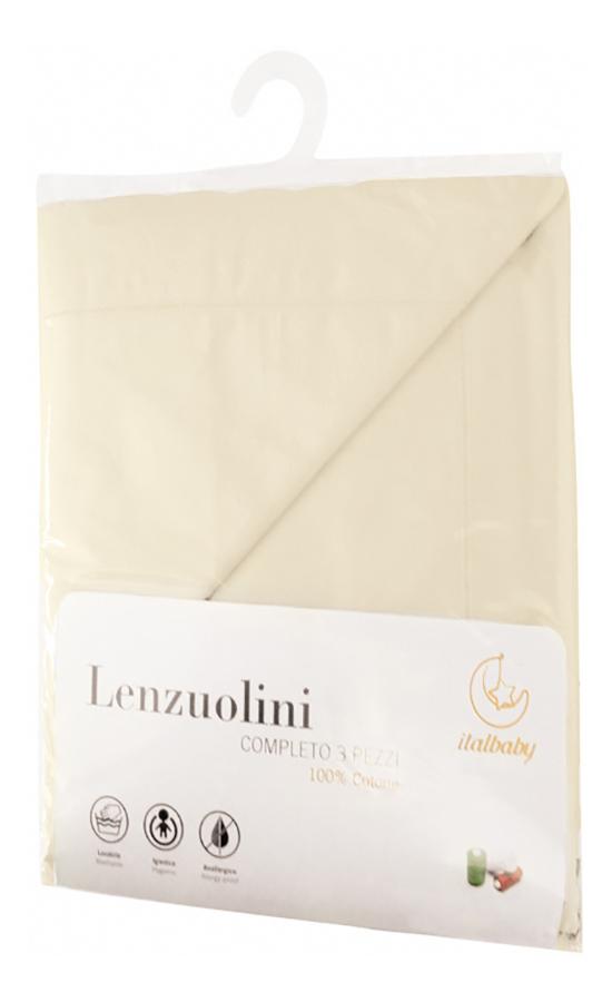 Комплект детского постельного белья Italbaby из 3-х предметов для кровати крем