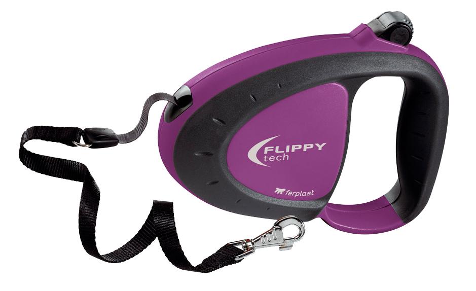 Поводок-рулетка Ferplast Flippy Tech Tape Medium, лента 3 м