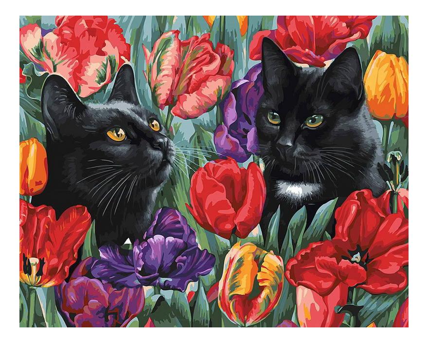 Раскраска по номерам Белоснежка Среди тюльпанов фото