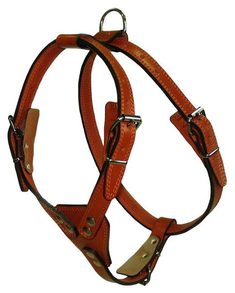 Шлейка для собак АРКОН 33399 кожаная №1 водильная, цвет коньячный фото