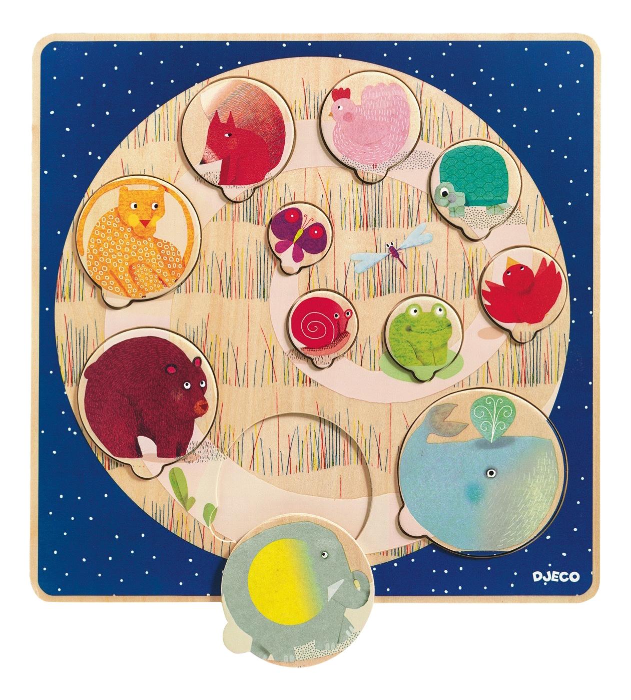 Деревянная игрушка для малышей Djeco Запомни размер, Развивающие игрушки  - купить со скидкой