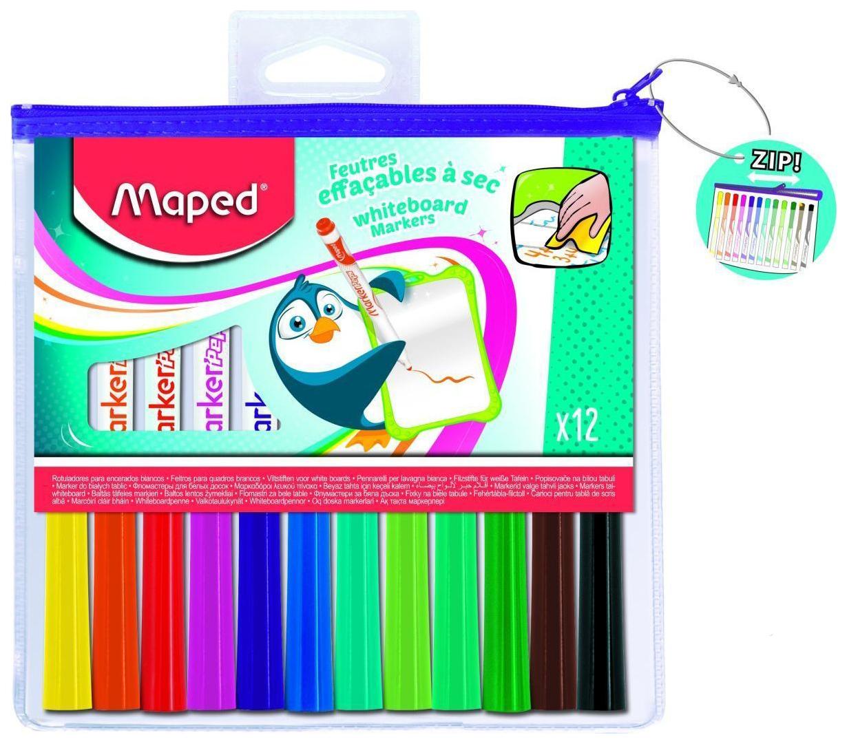 Купить Marker Pep's 741817, Маркеры для досок Maped Marker Pep's в футляре на молнии 12 цветов, Фломастеры
