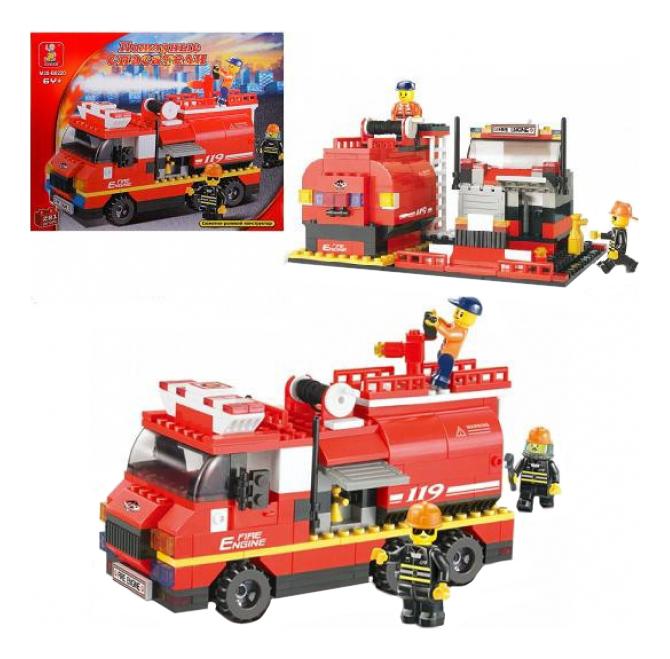 Купить Конструктор пожарные спасатели машина 281 деталь Г28698, Конструктор Пожарные-спасатели Машина 281 деталь Sluban Г28698, Конструкторы пластмассовые