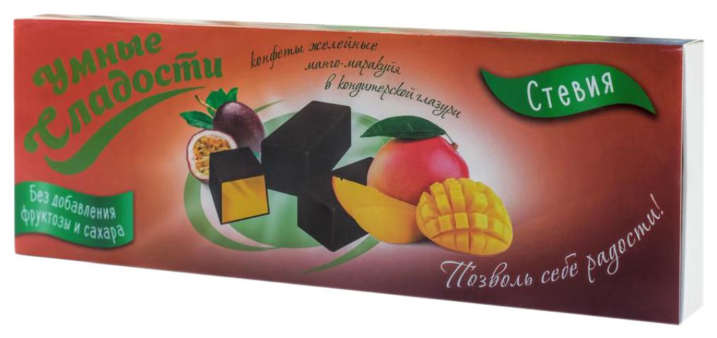 Конфеты желейные Умные сладости со вкусом манго-маракуйя в кондитерской глазури 105 г фото