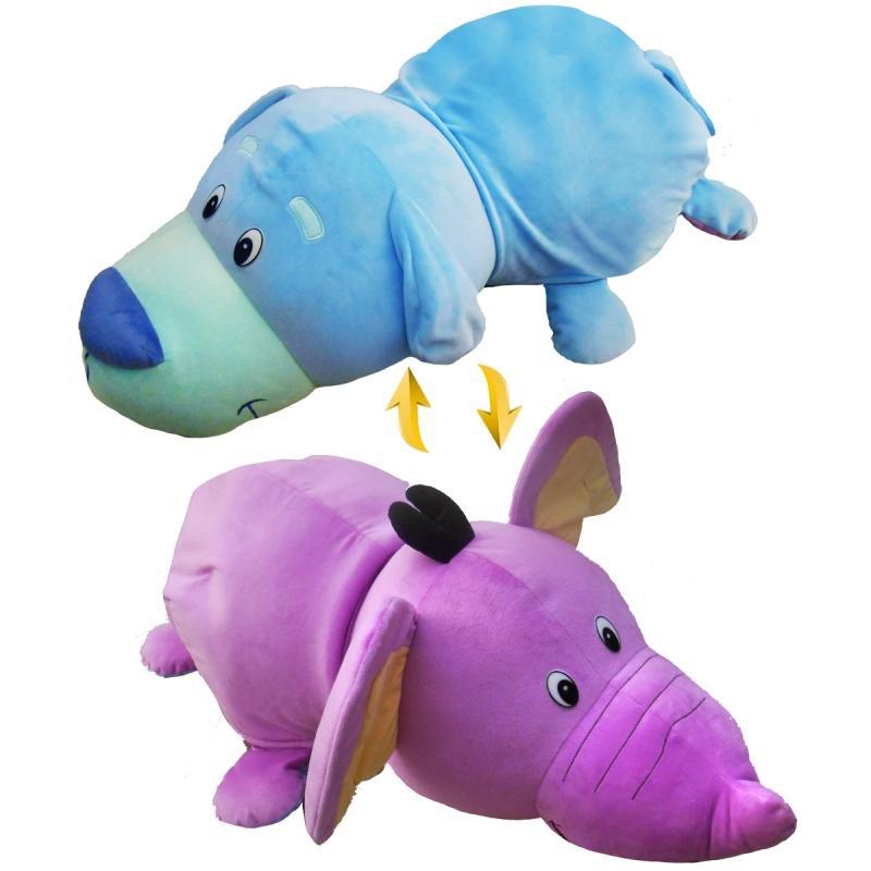 Купить Мягкая игрушка 1 TOY Вывернушка 76 см 2 в 1, Голубой Щенок-Сиреневый Слон (Т12037), Мягкие игрушки животные