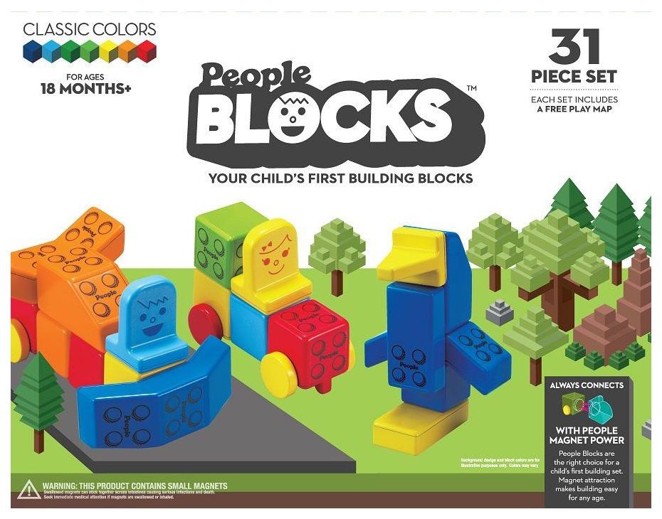 Развивающая игрушка Набор кубиков People Blocks, 31 штука и игровой коврик People PB320 фото