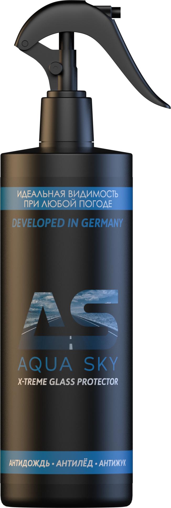Полироль для автостекол AQUA SKY жидкое стекло, антидождь X-treme glass protector, 400мл