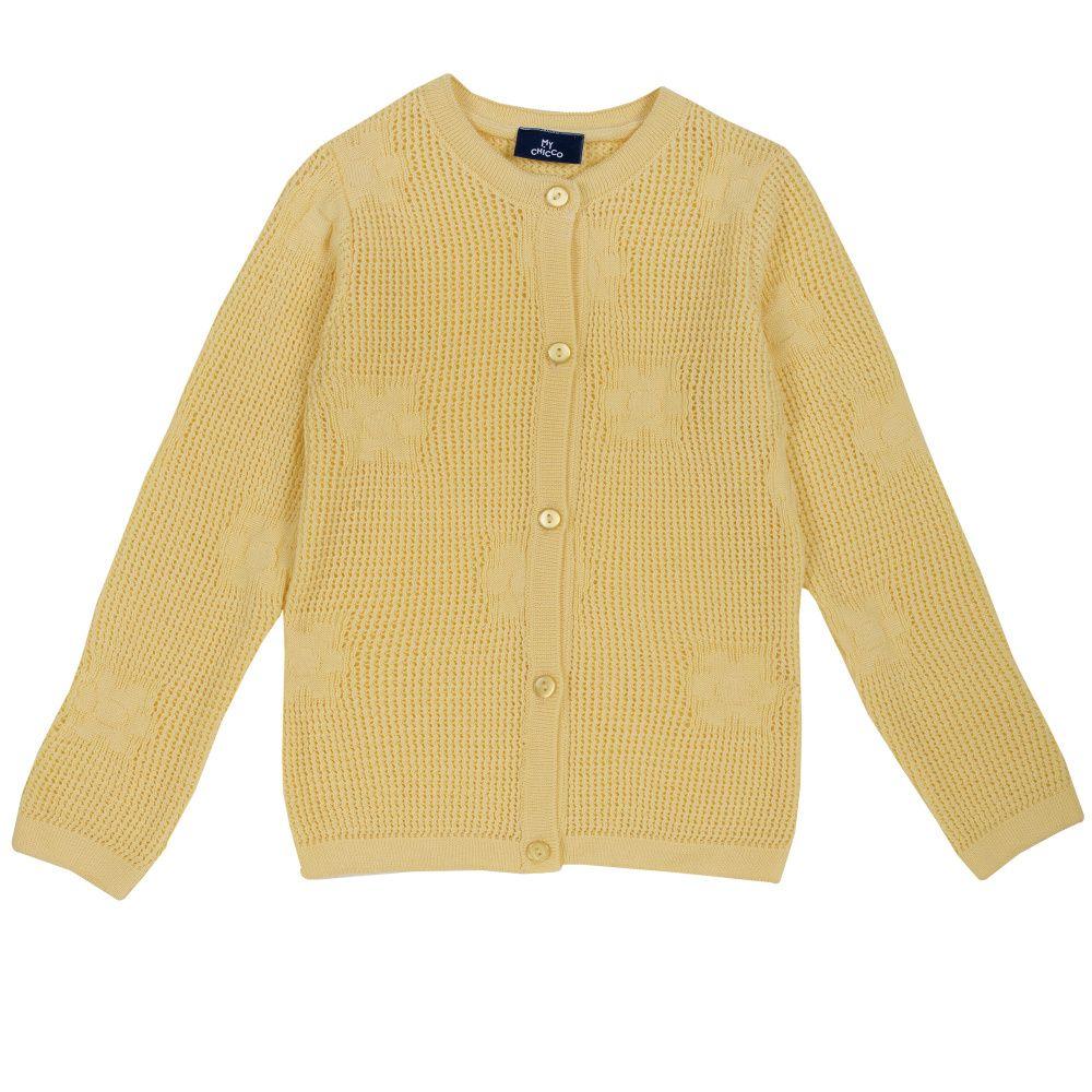Купить 9096859, Кардиган Chicco желтый, размер 104, Кардиганы для девочек