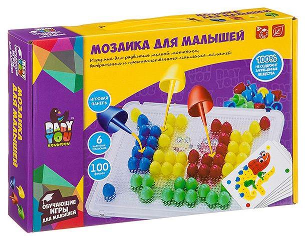 Купить Мозаика для малышей Bondibon, 6 картинок-шаблонов, 100 фишек, BOX, Мозаики