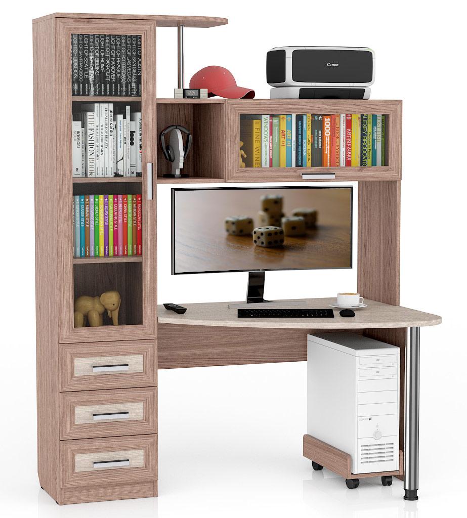 Компьютерный стол Мебельный Двор Бонус-2 150x90x195, ясень шимо светлый/ясень шимо тёмный
