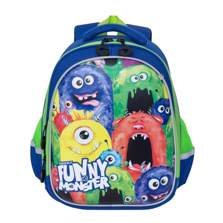 Купить Школьный рюкзак для мальчика Grizzly RA-978-6 синий, Школьные рюкзаки и ранцы