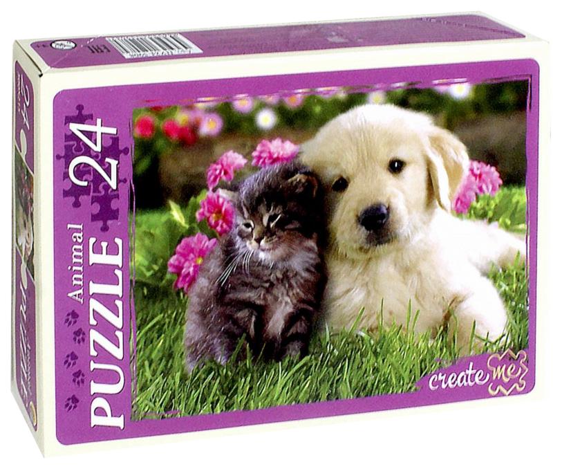 Купить Пазл Рыжий кот Puzzolini Котенок и щенок ПУ24-5908, Пазлы