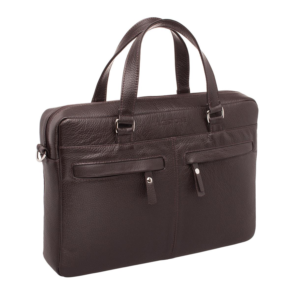 Портфель мужской кожаный Lakestone 9210 коричневый фото