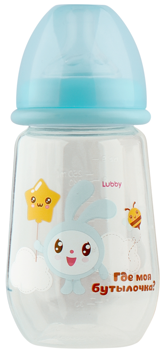 Бутылочка для кормления LUBBY Малышарики от 0 мес 250 мл голубой