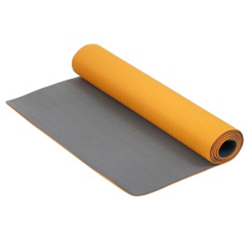 Коврик для фитнеса и йоги Larsen TPE оранжевый/серый 4 мм 173 см