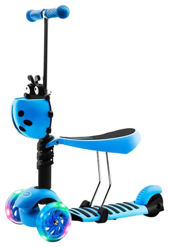 Самокат Zilmer ZR-71 свет,сталь/пластмасса,сиденье,корзина Голубой