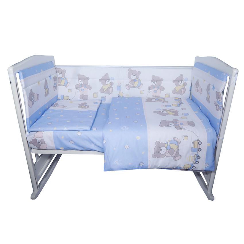 Комплект в кроватку 6пр. МИШКА Бязь Голубой 608