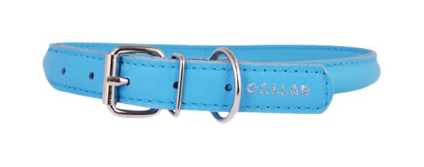 Ошейник для собак Collar Glamour, кожаный, круглый, синий, 45-53 см x 13 мм