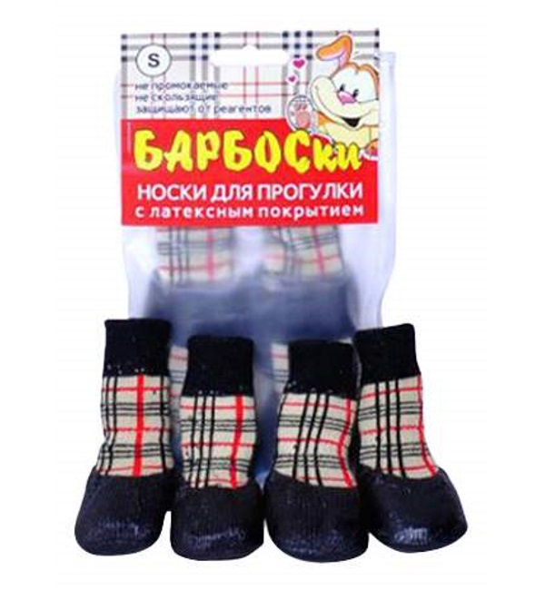 Носки для собак БАРБОСки размер S 4 шт красный бежевый черный.