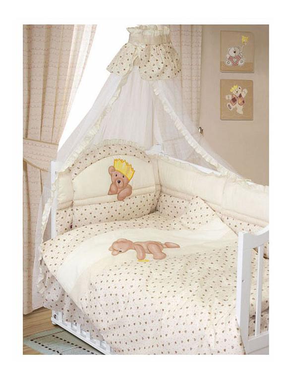 Комплект в кроватку Золотой гусь Мишка-Царь 8 предметов бежевый Золотой Гусь фото