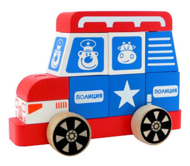 Купить Конструктор деревянный Alatoys Полицейская машина большая, Алатойс,