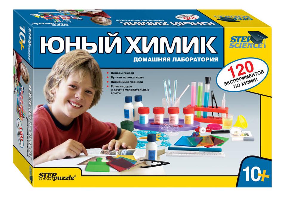 Семейная настольная игра Step Puzzle Юный химик Домашняя лаборатория 76094