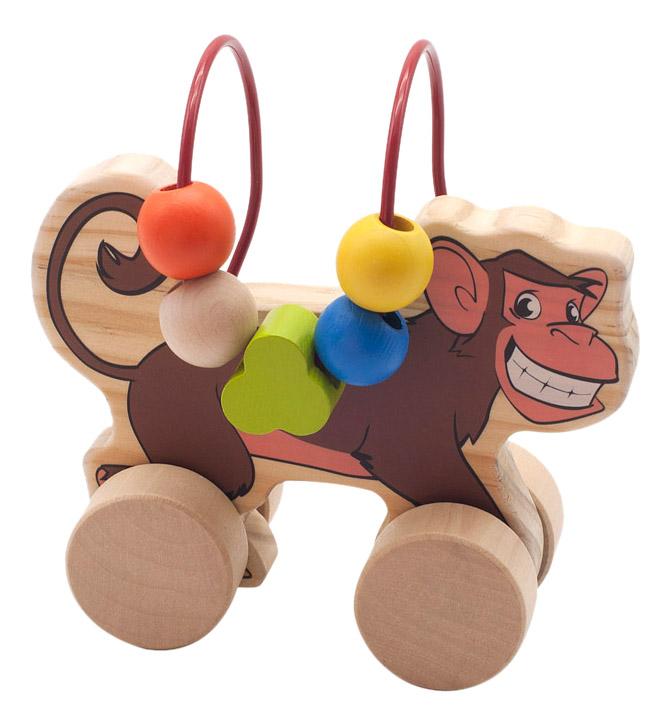 Купить Каталка детская Мир Деревянных Игрушек Обезьяна, Игрушечные машинки