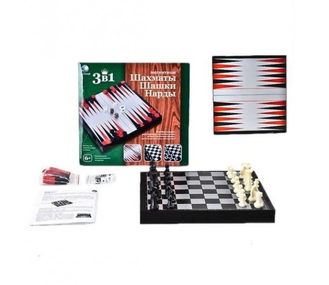 Магнитная игра Shantou Gepai 3 в 1 Шашки, шахматы, нарды