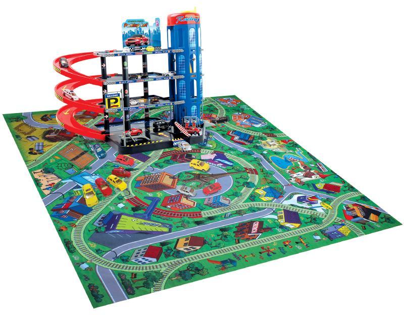 Детская парковка Megapolis четырехуровневая с ковриком 2491
