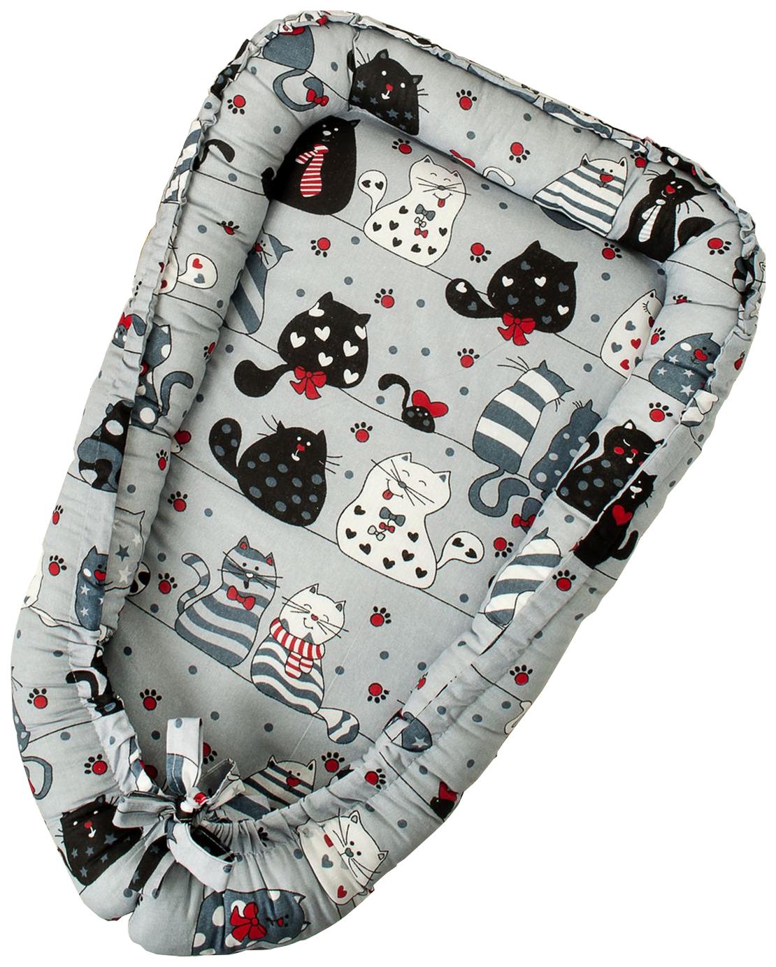 Подушка детская AmaroBaby Little Baby Котики Серая