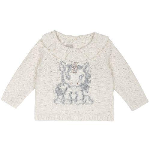Купить 9069389, Джемпер Chicco для девочек р.80 цв.белый, Кофточки, футболки для новорожденных
