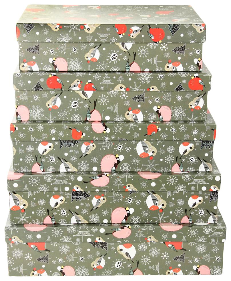 Набор подарочных картонных коробок Певчие снегири, 5 шт. от 32x20x8 см до 40x28x10 см