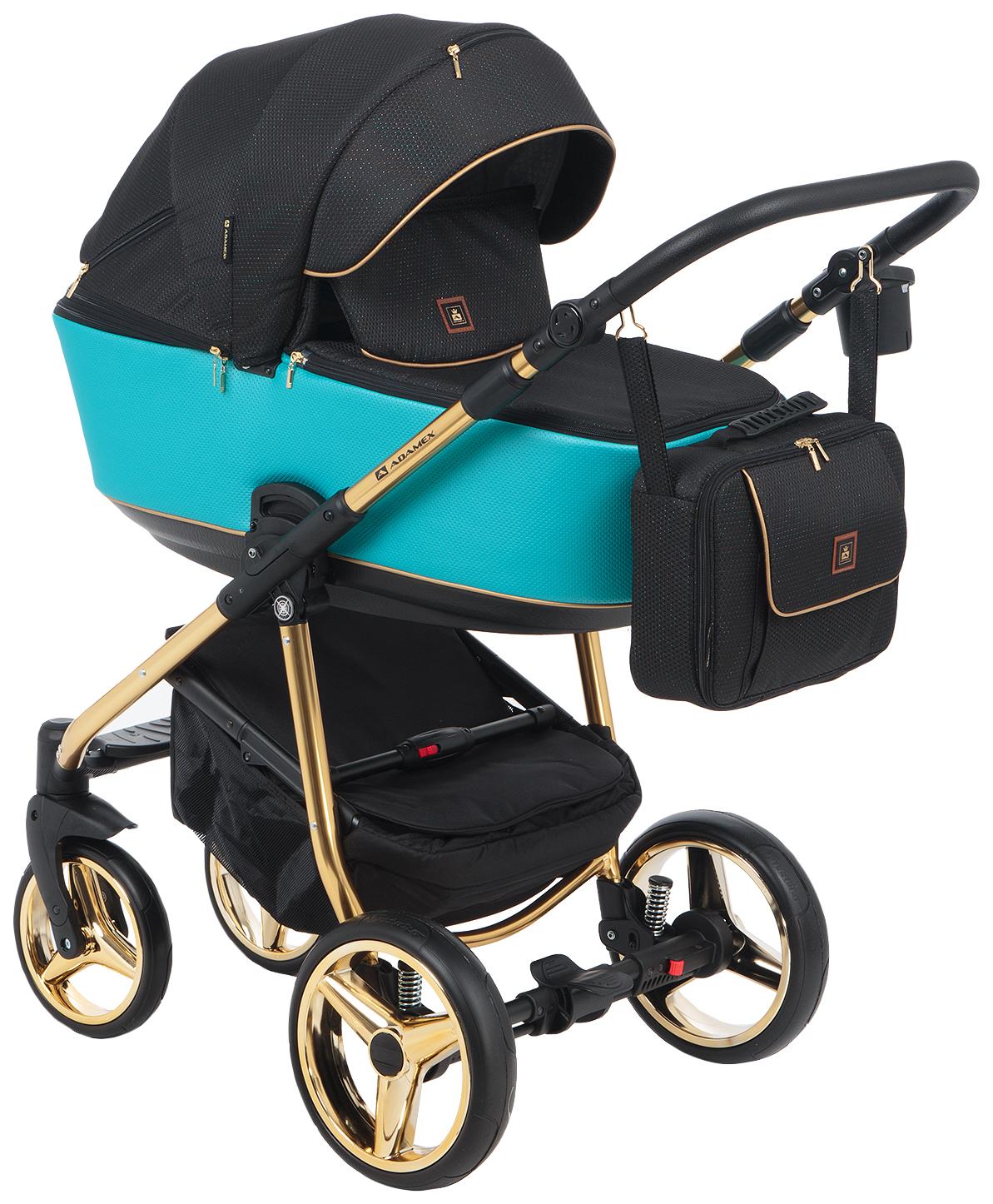 Купить Коляска 2 в 1 Adamex Barcelona Special Edition BR-608 цвет бирюзово-черный, Детские коляски 2 в 1