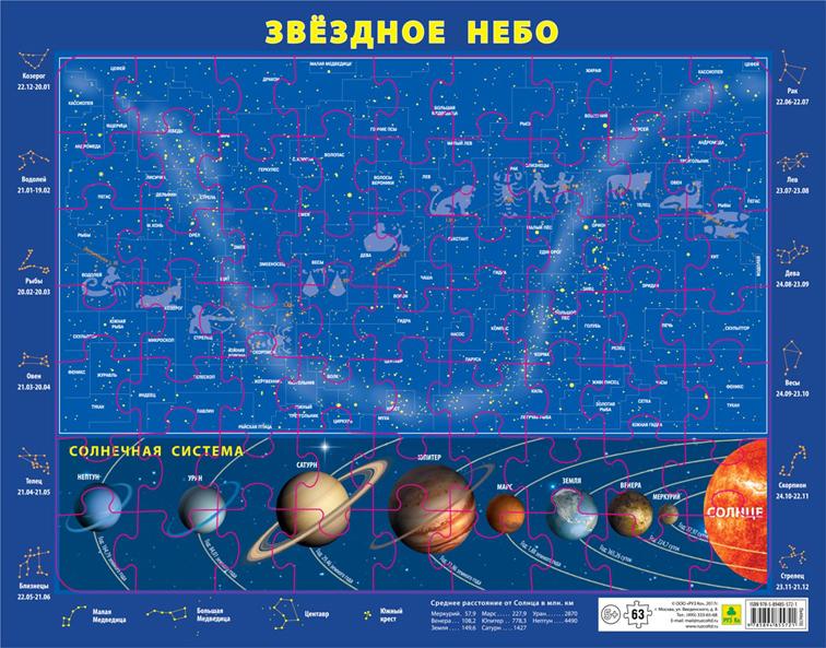 Карта звездного неба и Солнечной системы. Детский пазл на подложке(36х28 см, 63 эл.) фото