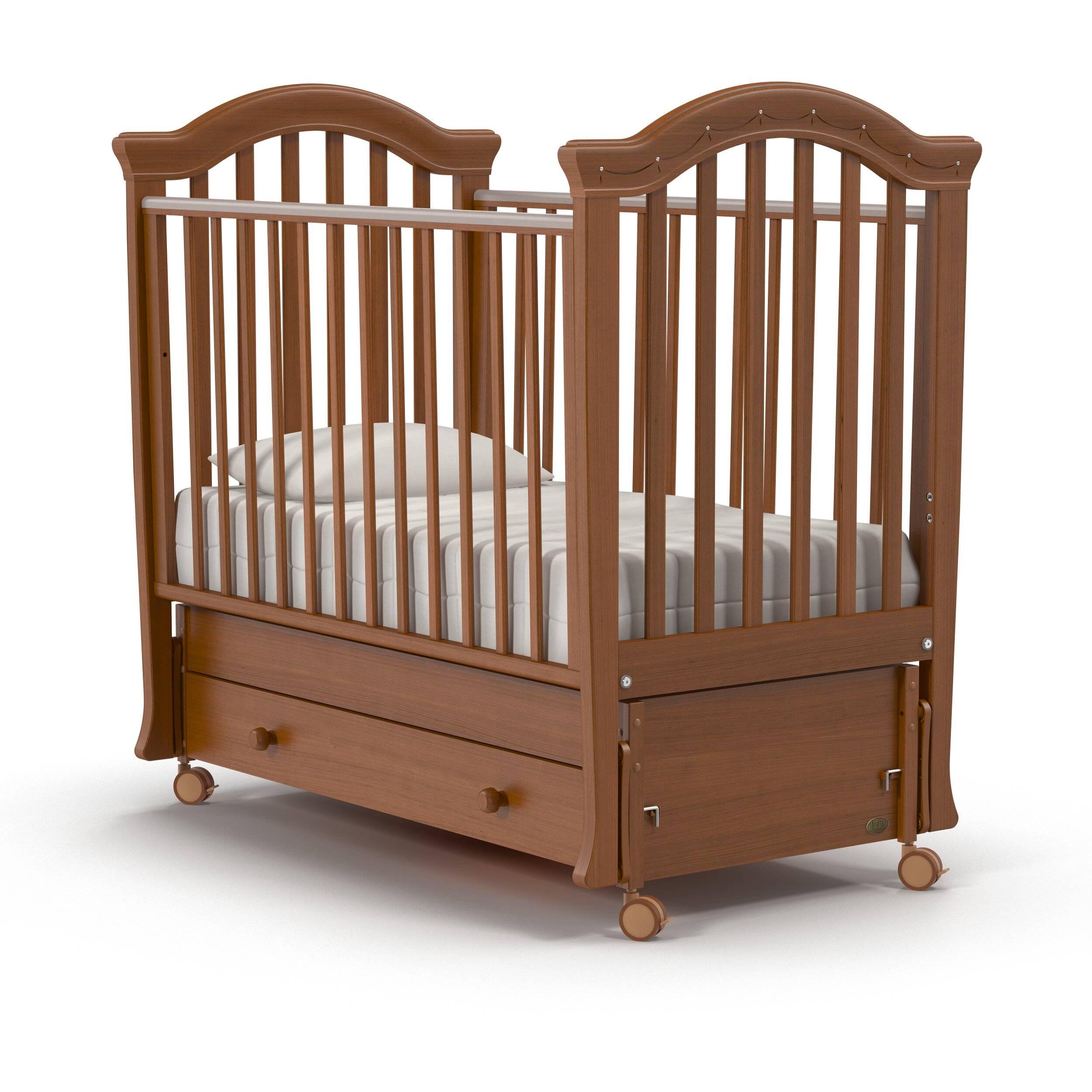 Купить Кроватка Nuovita Perla Swing маятник продольный noce scuro тёмный орех, Классические кроватки