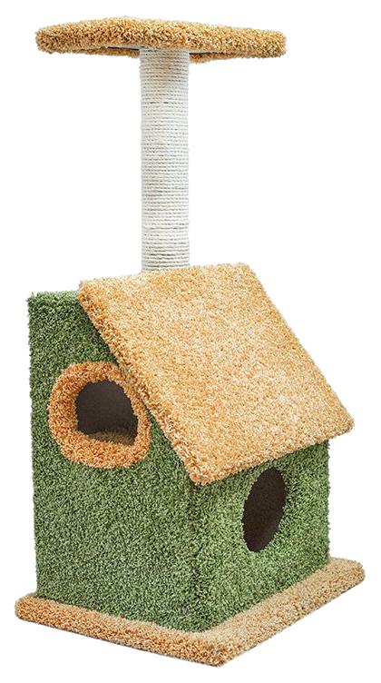 Комплекс для кошек Дарэлл, бежевый, зеленый, 3 уровня фото